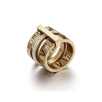 Stainless Steel Roman Numerals Rings