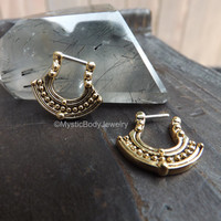 """Nose Ring Tribal Septum Clicker 16g 1/4"""" Hinged Body Jewelry Piercing Gold Plated Brass Surgical Steel Bar Daith Jewellry Hoop Piercings"""