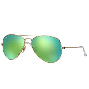 Cheap Ray Ban Aviator RB3025 112/19 Sunglasses Gold Frame Green Mirror Flash Lens 58mm outlet