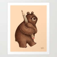 The Drawing Bear Art Print by Greg Abbott