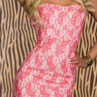 Strapless Mini Dress with Pink Floral Print