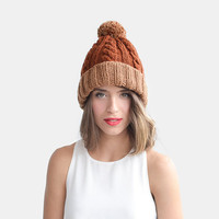 Color Block Beanie in Copper and Burnt Orange, Customizable Hat, Womens Winter Hat, Warm Wool Beanie, Two Tone Beanie, Custom Bobble Hat