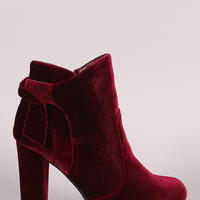 Bamboo Velvet Knotted-Tie Chunky Heeled Booties