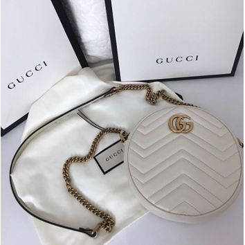 Gucci Shopping Bag Leather Chain Crossbody Shoulder Bag Satchel