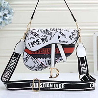 DIOR hot sale color matching printed ladies shopping shoulder bag messenger bag SADDLE BAG