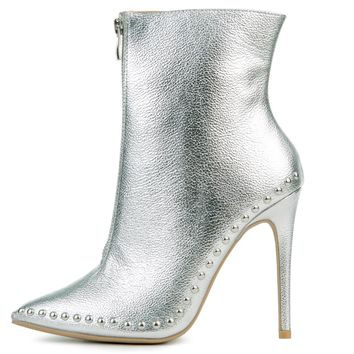 Women's Giselle Silver Heeled Booties