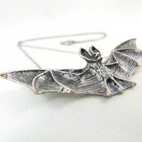Dark Bat Silver Necklace by angelyques on Etsy