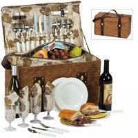 Woodstock 4 Person Picnic Basket w Insulated Cooler