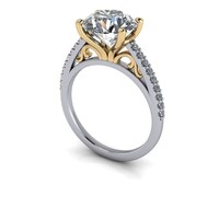 Moissanite and Diamond Engagement Ring Setting - Forever One Moissanite - Customize Your Ring