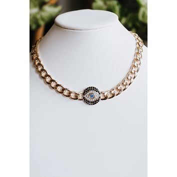 Evil Eye Thick Chain Necklace