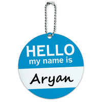 Aryan Hello My Name Is Round ID Card Luggage Tag