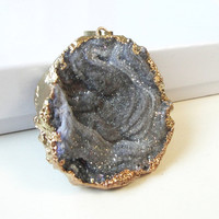 Chalcedony Rosette Quartz Druzy  Dipped In Gold With Glittery Round Large Pendant