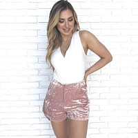Soft To The Touch Pink Velvet Shorts