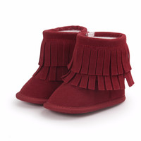 Baby Girl Shoes Baby Moccasins With Fur Soft Soled Baby Shoes Baby Kids Girl Booties 2016 Warm Pink Winter Boot