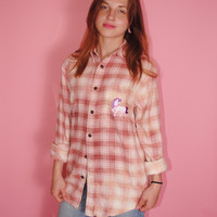 Vintage 1990s Ombre Bleached out super Soft Pink UNICORN Soft GRUNGE long sleeve Plaid FLANNEL Button down shirt