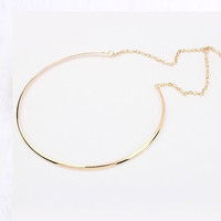 Simple Personality Punk Gold Silver Plated Choker Necklace Statement jewelry