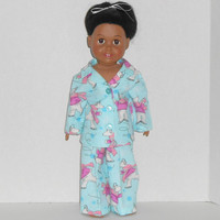 American Girl Doll Clothes Aqua Flannel Pajamas with Polar Bears Ice Skating fits 18 inch dolls