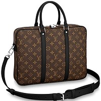 Louis Vuitton Monogram Macassar Canvas Porte-Documents Voyage PM Briefcase Laptop Bag Article: M52005