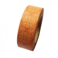 Dress My Cupcake DMC41WT989 Washi Decorative Tape for Gifts and Favors, Orange Damask