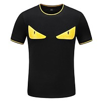 FENDI Fashion Men Casual Short Sleeve Shirt Top Tee Black