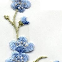 Beautiful FLOWER QUiNCE BLUE Blossom Stem Applique Iron or Sew On patch by Cedar Creek patch Shop on Etsy
