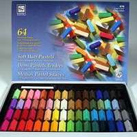 64 SOFT CHALK PASTEL HALF STICKS FOR ART, DRAWING ~BRAND NEW~ ASSORTED COLORS