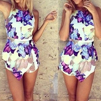 Floral Printed Sleeveless Romper