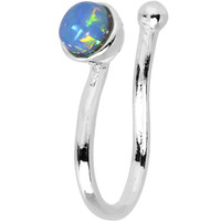 Blue Synthetic Opal Rhodium Plated Clip On Nose Ring   Body Candy Body Jewelry