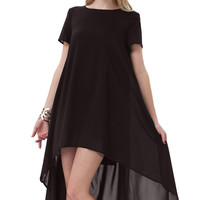 Solid Color Short Sleeve High-Low Dress