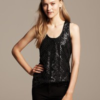 Banana Republic Womens Monogram Faux Leather Sequin Tank Size 0 - Black