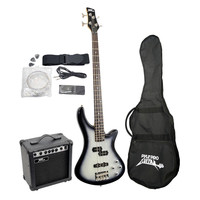 Pyle Professional Full Size Electric Bass Guitar Package with Amplifier