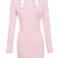 Clothing : Bodycon Dresses : 'Raina' Baby Pink Lace Up Dress