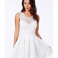 Missguided - Colette White Skater Dress With Mesh Detail