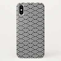 Black white Japanese abstract wave pattern iPhone X Case