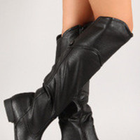 Leatherette Slouchy Round Toe Knee High Riding Boot
