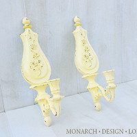 Yellow Floral Candle Sconces, Vintage Distressed Wall Candle Sticks