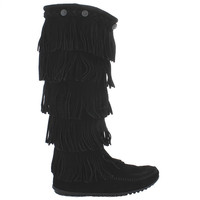 Minnetonka Five Layer Fringe - Black Suede Tall Boot