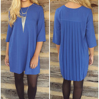 Top Of The Class Cobalt Shift Dress With Chiffon Pleated Back & Zipper Details