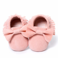 Hot Sale! Baby Shoes PU leather Solid tassel Frosted, Butterfly-knot Newborns Moccasins toddler infant Girl Boy First Walker