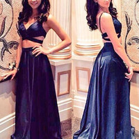 New Arrival V-Neck Two Piece 2016 Prom Dresses Long Sexy Open Back Satin Party Gowns