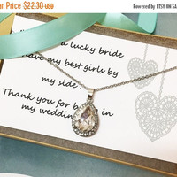 Bridesmaid necklace, Wedding jewelry, bridesmaid jewelry,vintage inspired tear drop crystal jewelry with bridesmaid thank you card