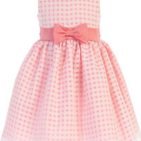 Girls Coral Satin w. Burnout Organza Overlay Dress 6m-12