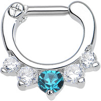 """14 Gauge 1/4"""" Five Clear and Blue Cubic Zirconia Septum Clicker   Body Candy Body Jewelry"""