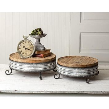 Set of Two Wood & Metal Risers