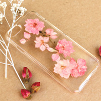 Hand Selected Sun Dried Pressed Flowers Handmade Resin on Samsung Galaxy s3 / s4 / s5 / s6 / s6 Edge Clear Case: Pink Cherry Blossom Flower