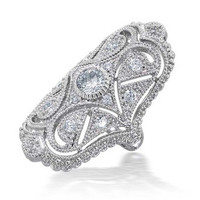 Bling Jewelry Great Gatsby Inspired CZ Vintage Style Full Finger Armor Ring, Size 8