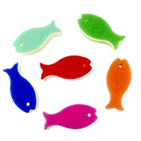 Fish Shaped Kitchen and Bathroom Sponge, Assorted Colors - Set of 6
