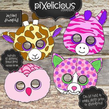 BEANIE BOO Printable Masks/Photo Props/Decorations - Instant Downloadable Digital Files - Includes 10 different animals