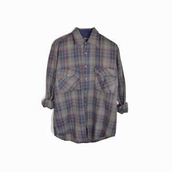 Vintage Gray & Blue Plaid Flannel Shirt / 80s Plaid Lumberjack Shirt - men's medium