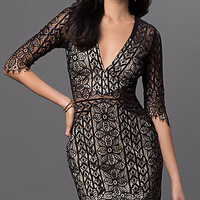 Short Lace Dress with Three Quarter Length Sleeves